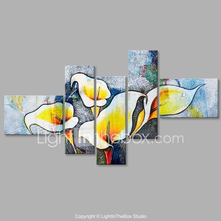 Pictat manual Floral/Botanic Floare Abstract Stil Iregular Cinci Panouri Canava Hang-pictate pictură în ulei For Pagina de decorare 5981093 2017 – $104.79