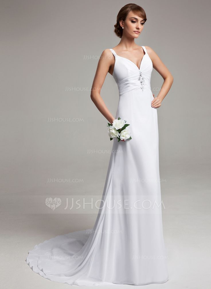 A-Line/Princess V-neck Court Train Chiffon Wedding Dress With Ruffle Beading (002012150) - JJsHouse