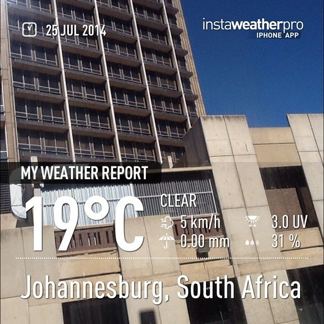 From SABC Media Libraries Instagram account: Made with @instaweatherpro  #instaweather #sabc #instaweatherpro #weather #wx #johannesburg #southafrica #day #winter #clear #za