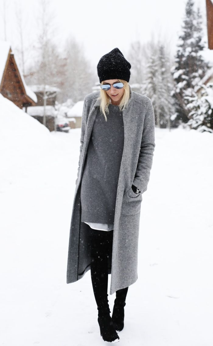 grey on grey in the snow | winter style
