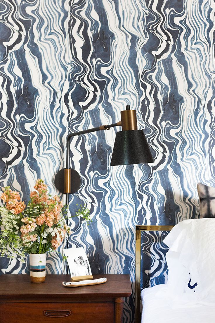 Navy blue wallpaper for walls - Reveal Day Our Bedroom Makeover Renovation Navy Wallpaperblue