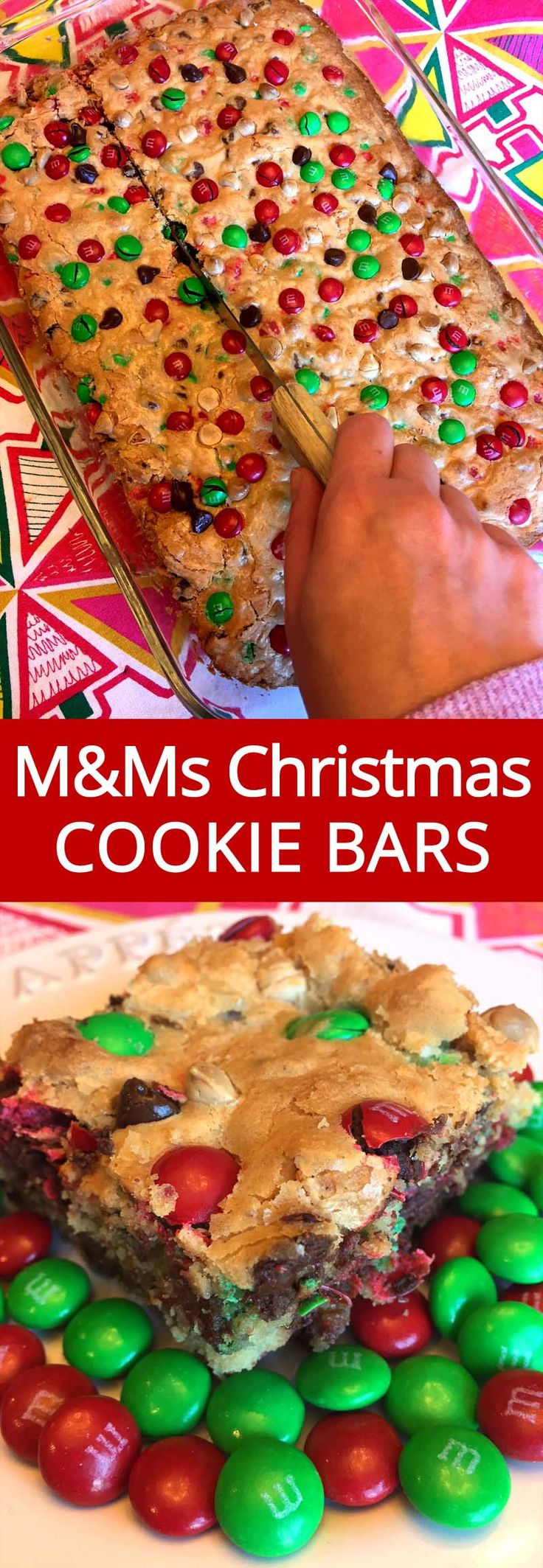 These Christmas M&M's cookie bars are amazing! So bright and festive and taste mouthwatering! Super easy to make, everyone will beg you for these M&Ms cookie bars, you'll be making a batch after batch after batch!