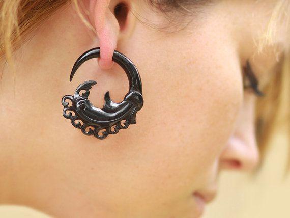 Fake Gauges Plugs Handmade Horn Earrings Tribal Style Empress Curls