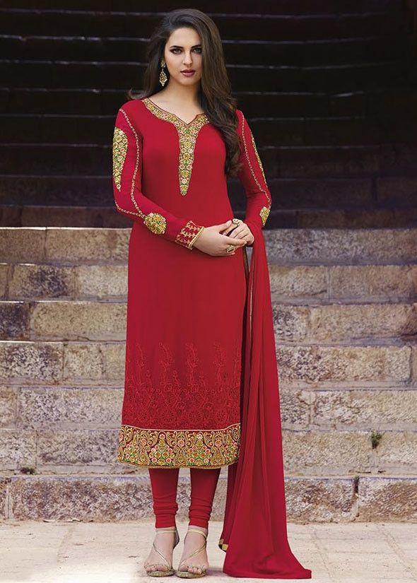 Classy Crimson Red Straight Fit Suit