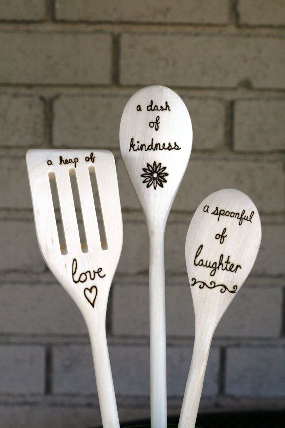 Love Kindness And Laughter Woodburned Spoons Set By Blessingfalls Housewarming Gift Bridal Shower Mother S Day Blessing Falls Etsy