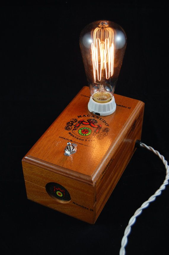 handmade cigar box lamp