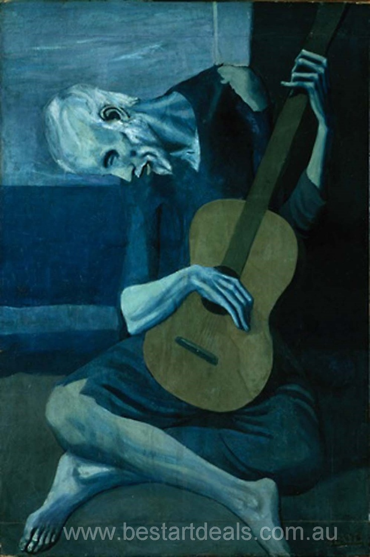 Pablo Picasso The Old Guitarist 1903, It shows an old barefoot man sitting with a guitar in his lap. He is leaning to the side as he plays.