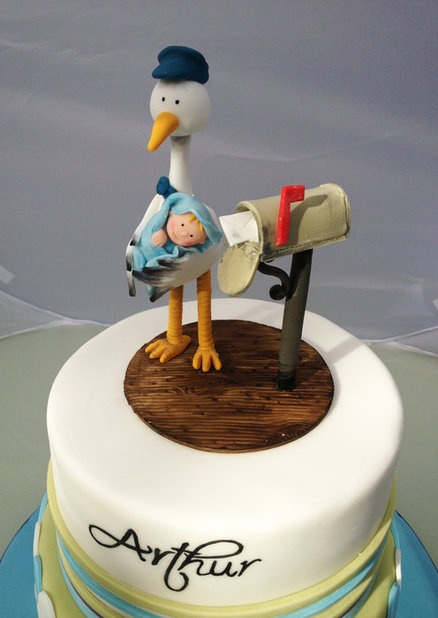 Stork & Postbox Baby Boy Christening Cake