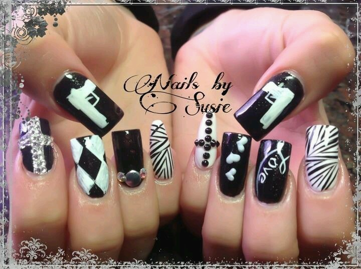 Black White Nail Art Gun Pinterest Nails And