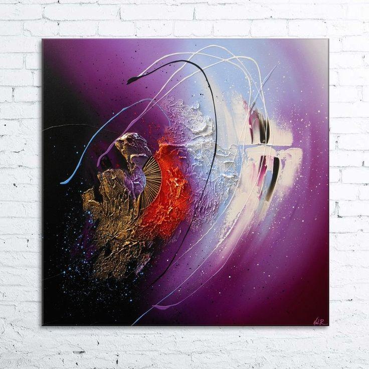Peinture clava tableau abstrait contemporain toile - Peinture violet et gris ...