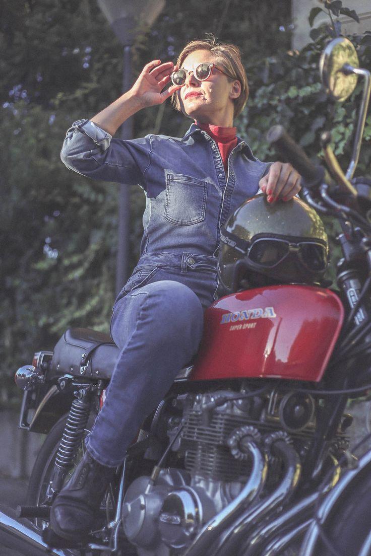 overall denim Honda CBFour 400 old moto classics girl rider motocycles