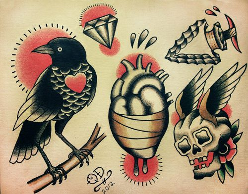 Conceptions de tatouage traditionnel par ParlorTattooPrints sur Etsy