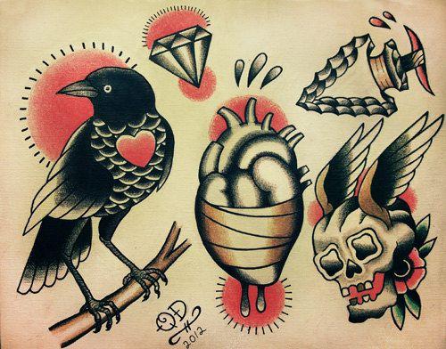 Conceptions de tatouage traditionnel par ParlorTattooPrints sur Etsy