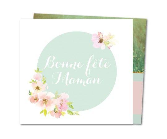 carte fete des meres fleurs roses et dorees