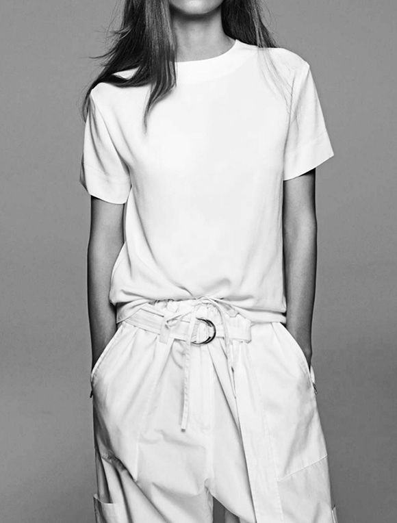 Céline, white pants, white t-shirt