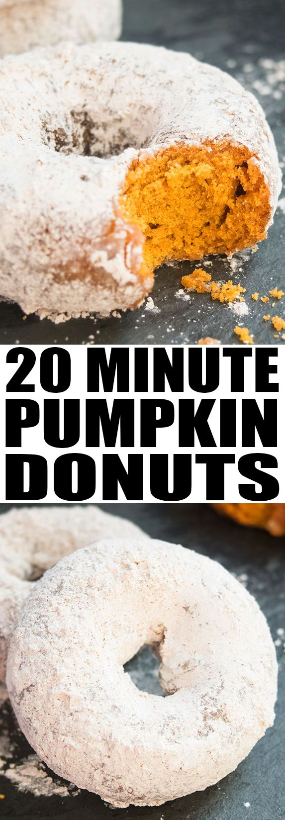 Quick and EASY PUMPKIN DONUTS recipe, made with just 4 ingredients. These baked pumpkin donuts start off with a cake mix and are covered in cinnamon sugar topping. From cakewhiz.com #pumpkin #donuts #dessert