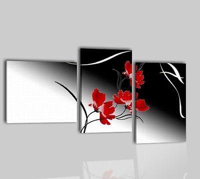 Quadri Moderni Dipinti A Mano Olio Su Tela Fiori Bianco Nero Rosso Quadro