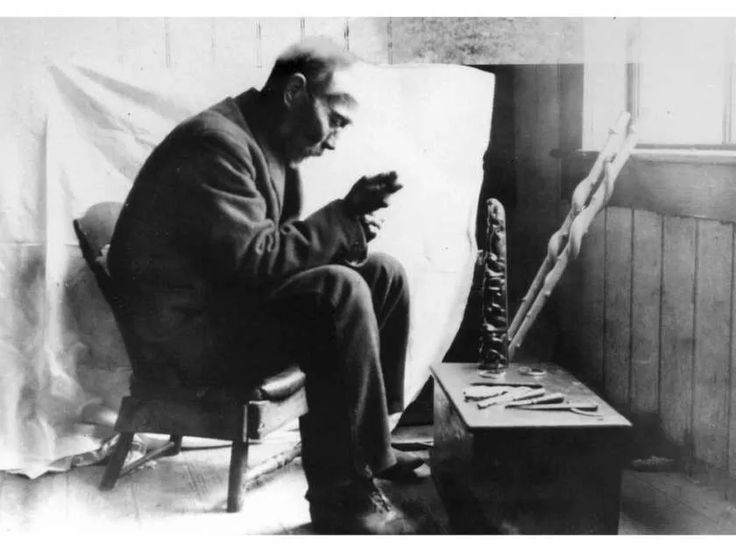 Haida carver Charles Edenshaw at work.  Undated photo from Museum of Anthropology, University of B.C.
