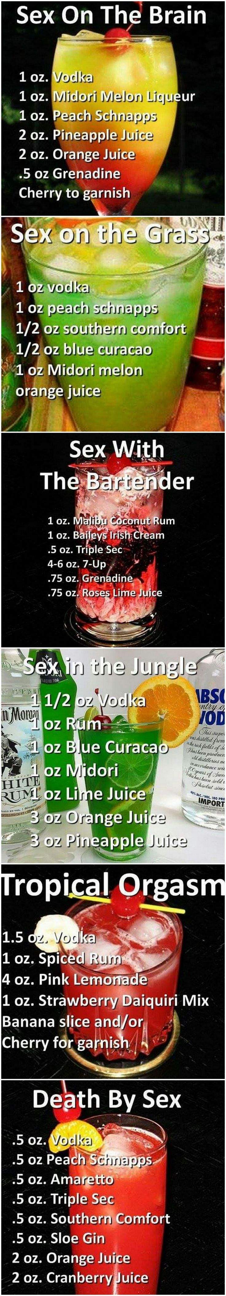 "Who picked the names for these Cocktails? ""Someone, who does not have enough Sex"" - greetings  - ❤️ahk"