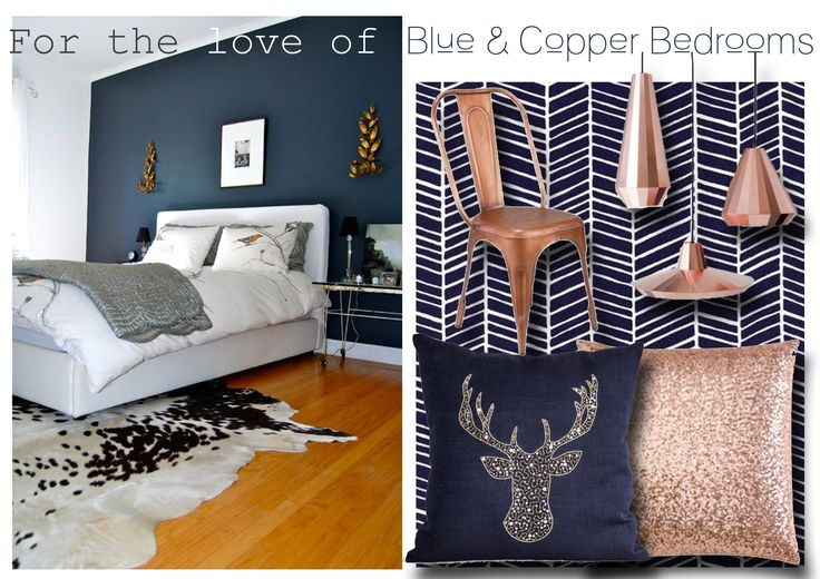 Blue & Copper bedroom