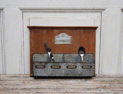 Besteckkasten-Besteckhalter-aus-Zink-und-Holz-4-Fach-Landhaus-Vintage