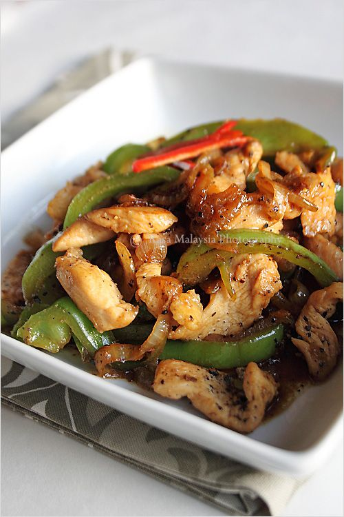 Black Pepper Chicken Recipe - chicken, onion, green bell pepper, soy sauce, sugar.