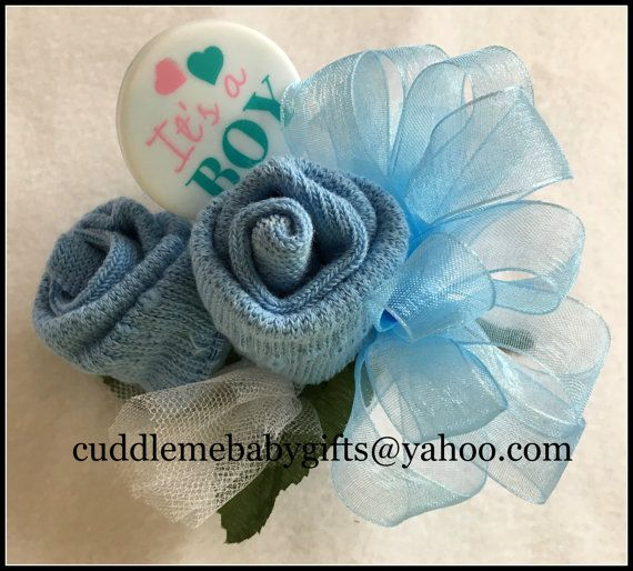 Baby Shower Baby Boy Wrist or Pin-on Baby Sock Corsage with