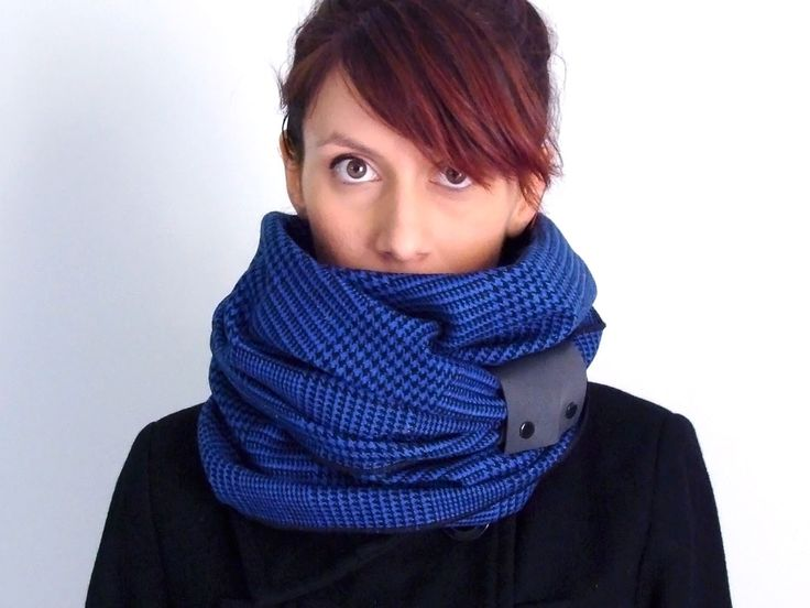 Wool infinity scarf with faux leather cuff in black & royal blue houndstooth plaid - tartan - FOR SALE 32.00€ - Click here: clothbot.gr - clohbotshop.etsy.com - Fall Winter 2015 - scarves, accessories, trends, christmas gifts, holidays presents, unisex