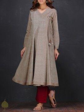 Brown Pintuck Angrakha Handloom Cotton Kurta by Jaypore
