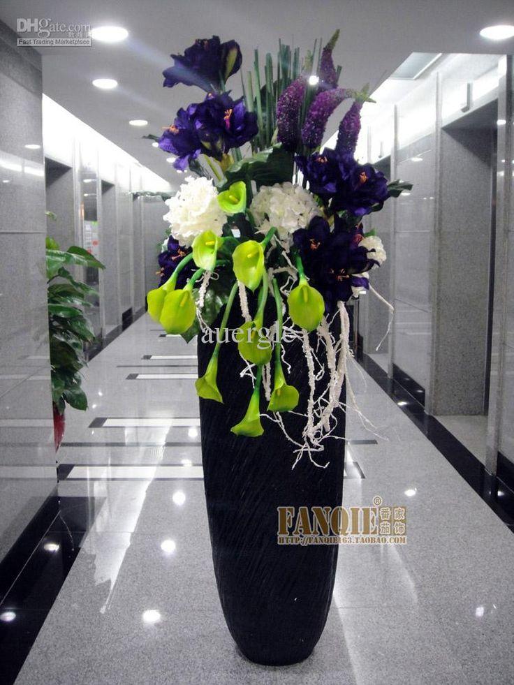 modern large artificial flowers | Modern fashion decoration floor vase set flowers artificial flower