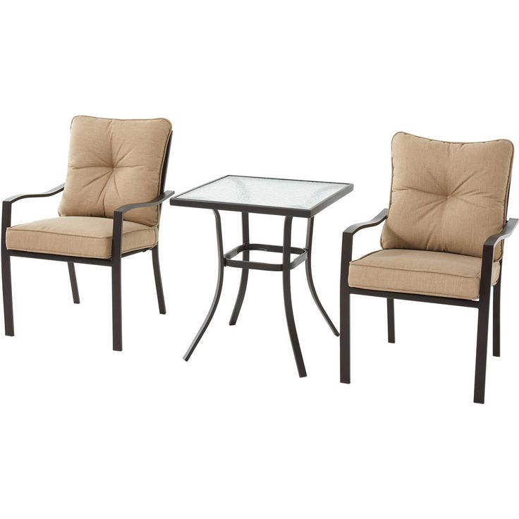 3pc Bistro Set Matte Espresso Finish Chair Tempered Glass Table Top Furniture #Mainstays