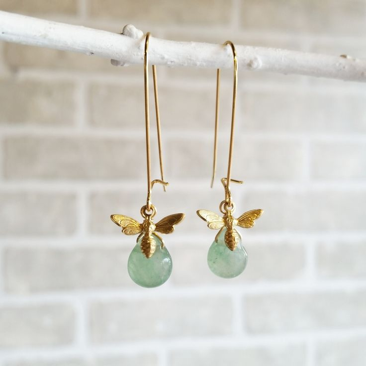 Image of Tiny Bee Briolette Drop Earrings - Green Aventurine