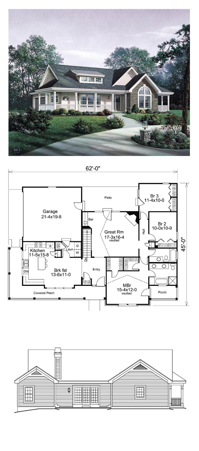 Country House Plan 87811 | Total Living Area: 1591 sq. ft., 3 bedrooms  2 bathrooms. #houseplan #countrystyle