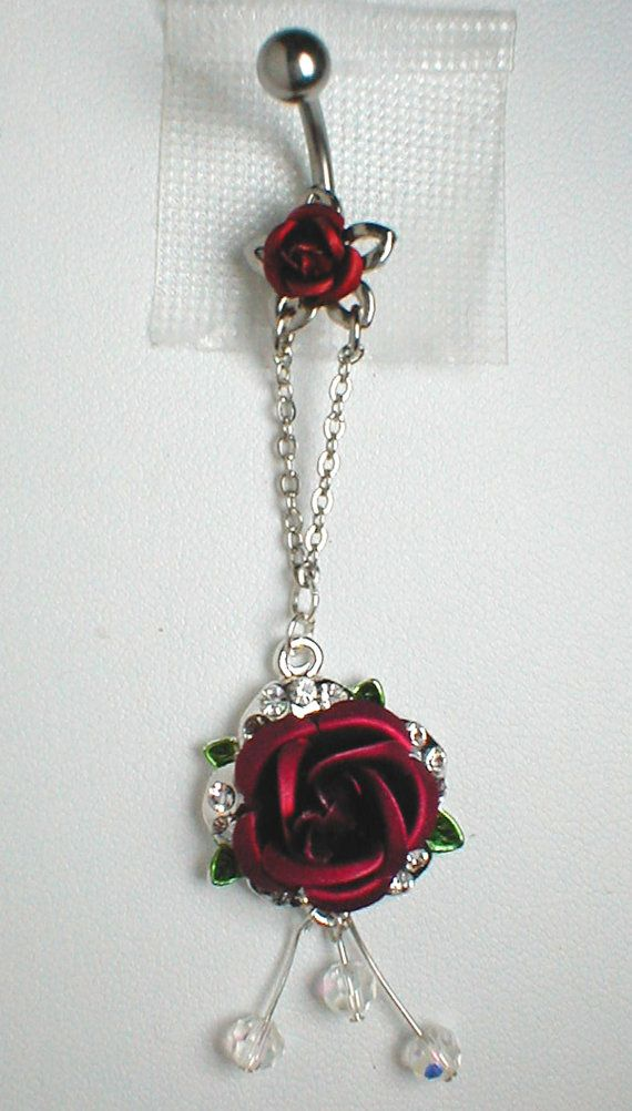Unique Belly Ring  Red Rose by pondgazer2004 on Etsy, $14.95