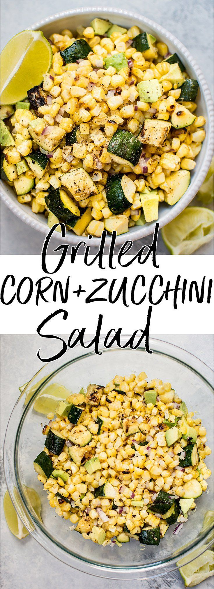 This grilled corn and zucchini salad is fresh, fast, and bursting with flavor! Only a few simple ingredients are needed to make this delicious summer salad. #grilledcorn #grilledzucchini #grilledsalad #summersalad #cornzucchinisalad #veganrecipe