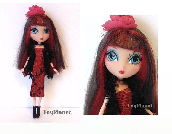 OOAK aangepaste La Dee Da pop nieuwe Red & Black Lace Dress Boa, laarsjes, portemonnee, sieraden - City Girl Dee oorspronkelijk
