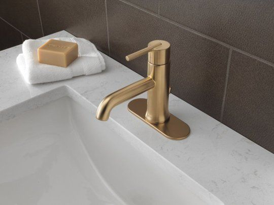 Delta Trinsic and Vero - Champagne Bronze Source List: Modern Gold and Brass Fixtures for the Bathroom
