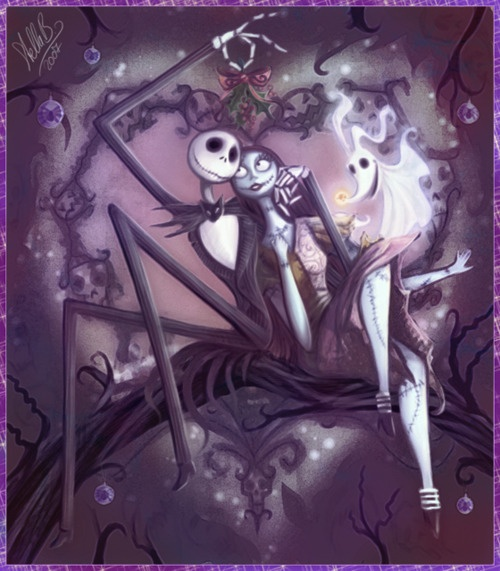 Jack & Sally under the mistletoe poster - The Nightmare Before Christmas. #heart #branch #mistletoe #dog #Halloween #Christmas #ValentinesDay #love #art #purple