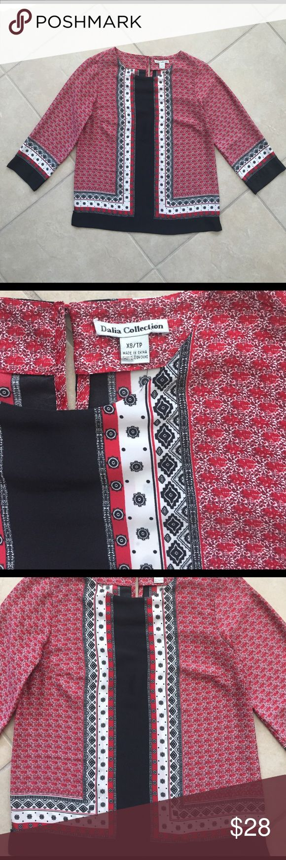 "Dalia Collection Top So pretty! Dalia top in red and black print back button closure, bracelet length sleeve. 18"" armpit to armpit, length 24 Dalia Collection  Tops Blouses"