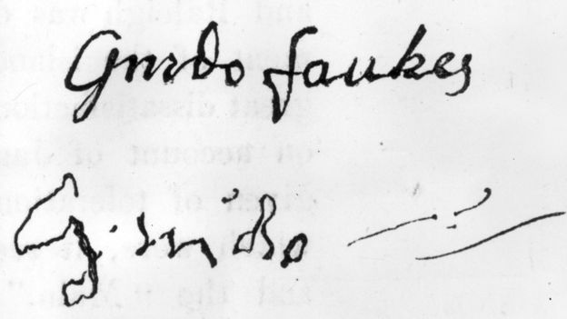 The autographs of gunpowder plot bad guy Guido Fawkes before and after torture