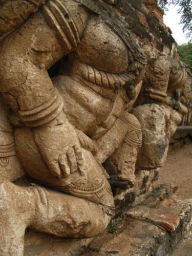 Their heads were missing, but these fellows were still guarding the base of the prang at Wat Ratchaburana.