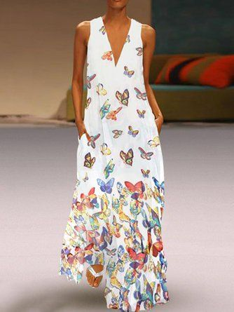 8be2e7f7b9 Justfashionnow Floral Dresses Vintage Dresses Holiday V Neck Floral-Print  Sleeveless Holiday Dresses