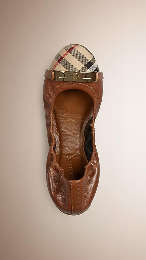 Tan Horseferry Check Leather Ballerinas - Image 1
