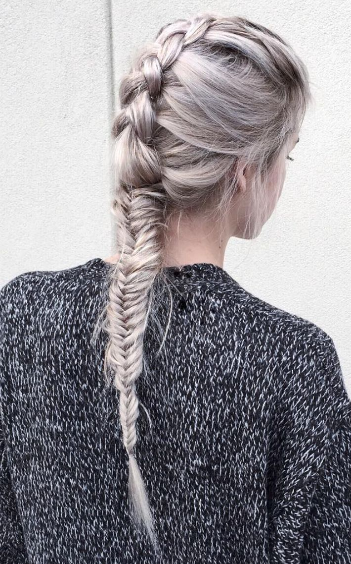 French + fishtail braid.