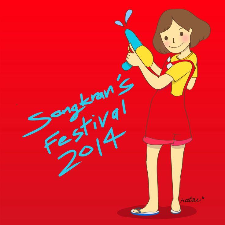 Happy Songkran's Festival 2014  #Songkran #Thailand #play #happiness #Illustration