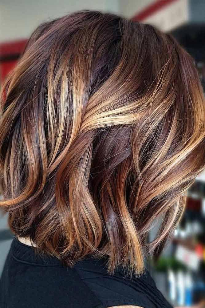 Wavy Lob With Sandy Highlights #bobhaircut #stacke…
