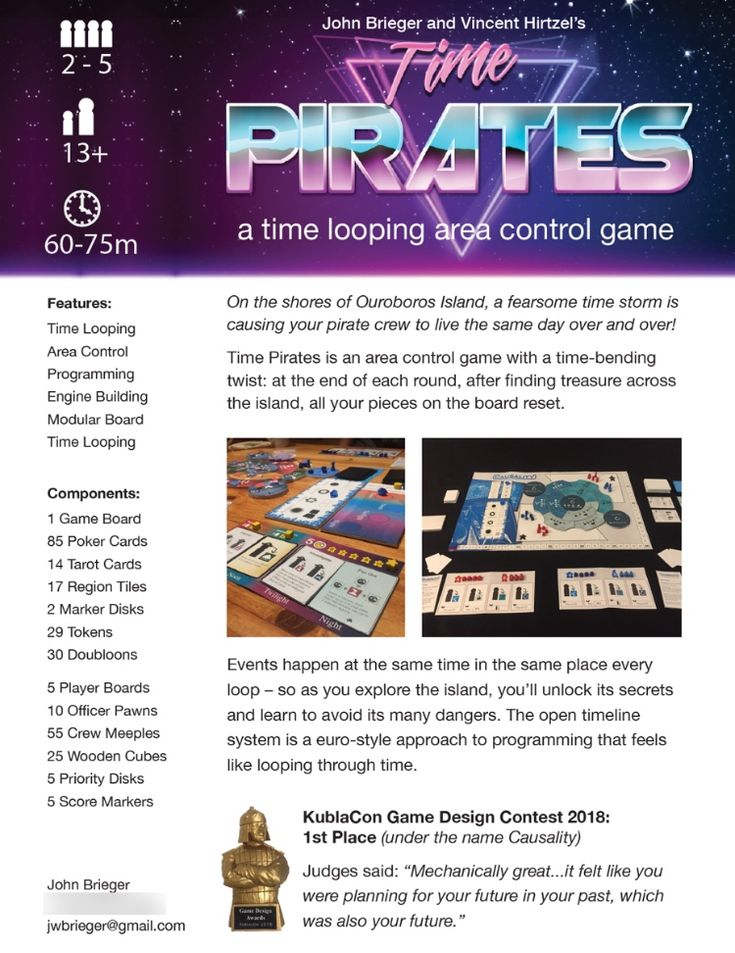Sell sheet for my time looping area control game with