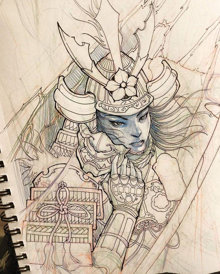 Samurai sketch. #chronicink #asiantattoo #asianink #irezumi #tattoo #illustration #art #sketch #samurai #irezumicollective