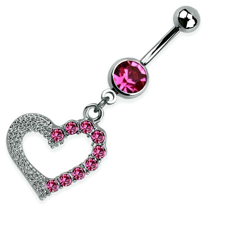 Rózsaszín szíves köldök piercing