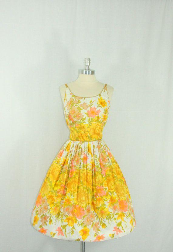 Cotton Summer Dress  1950's Vintage Floral novelty print by VintageFrocksOfFancy